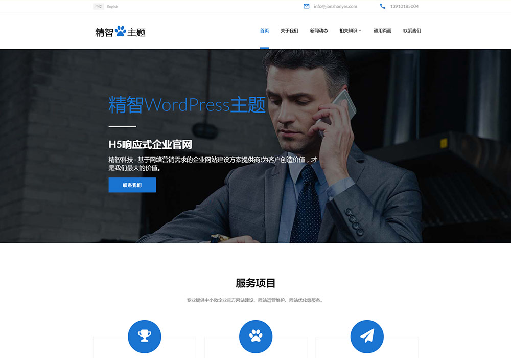 蓝色风格的科技公司wordpress主题